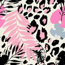 Abstract Tropical Floral Seamless Pattern With Palm, Monstera Leaves, Animal Skin Print