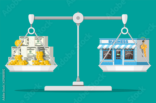 Fototapeta Scales with commercial property with key and money. Business valuation. Real estate business promotional, startup. Selling or buying new business. Flat vector illustration obraz