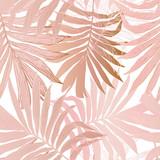 Ręcznie rysowane streszczenie tropikalny tropikalny tło: wentylator palmy pozostawia w sylwetka, grafika liniowa z błyszczącym efektem gradientu - 291882069
