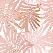 Hand Drawn Abstract Tropical Summer Background: Fan Palm Tree Leaves In Silhouette, Line Art With Glossy Gradient Effect