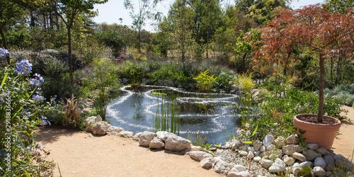 Photo Parc fleuri et bassin d'eau aux reflets circulaires