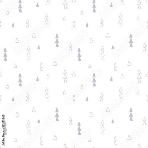 Fotobehang Boho Stijl Light seamless pattern with ethnic tribal boho trendy doodle triangle ornaments White grey colors