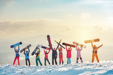 Happy Friends Skiers And Snowb...