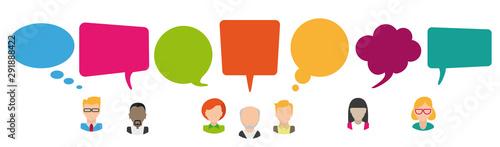 Fototapeta Colored Speech Bubbles Header Humans Kommunikation