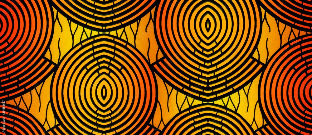 Fototapety, obrazy: Colorful pattern of an African fabric (piece of cotton, warm colors)