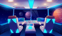 Spaceship Cockpit Interior With Space And Planets View, Rocket Cabin With Control Panel, Neon Glowing Seats For Pilots And Flight Deck With Navigation Monitors, Pc Game Cartoon Vector Illustration