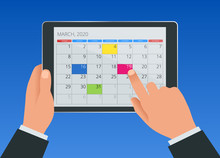 Flat Female Hand With A Tablet With A Calendar, One Month Plans. Calendar Icon, Schedule, Planning App On Tablet Screen.