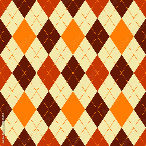 argyle seamless vector pattern in autumn colors Fototapete