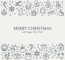 Christmas Greeting Card With Outline Icons.