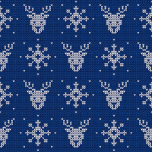 Knitted Pattern With Deers And Snowflakes. Winter Background. Vector.
