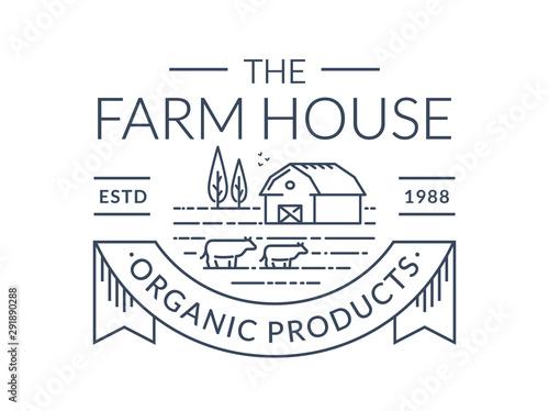 Farm logo. Vector line emblem with farmhouse and cows. Canvas