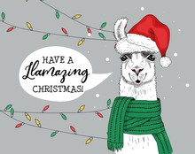 Have Amazing And Joyful Christmas Greeting Card Vector Illustration. Alpaca In Red Santa Claus Hat With Speech Bubble Congratulating Everyone With Llamazing Xmas. Winter Holidays Concept