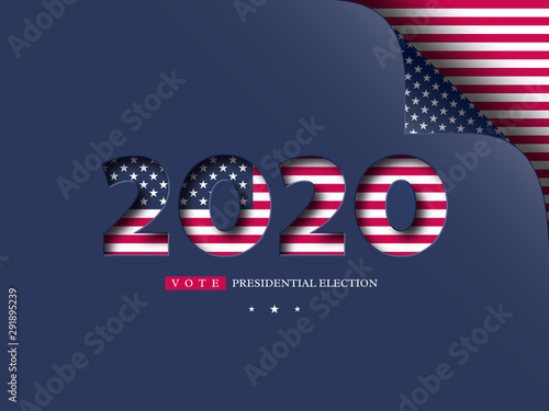 Fototapety, obrazy: 2020 USA vote banner. Presidential election background in American flag colors with curled corner effect. Vector illustration.