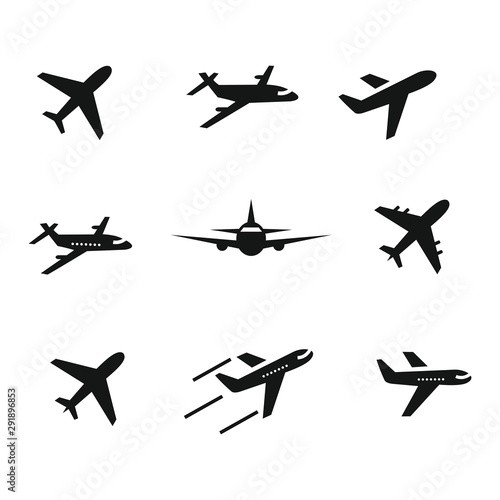 Photo airplane icon set,symbol vector illustration