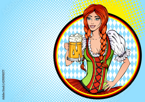 Recess Fitting Pop Art Vector bright colored background in Pop Art style. Pretty sexy girl with beer in traditional Bavarian dress. Poster to oktoberfest festival, beer festival, brewing