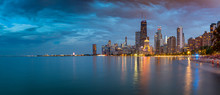 View Of Chicago Skyline At Dusk From North Shore, Chicago, Illinois