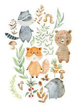 Watercolor Woodland Arrangemen...