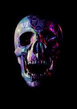 Stylized Colorful Skull Illustration Isolated On Black BG