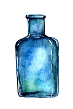 Blue Glass Bottle Isolated On ...