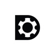 letter D cog gear Logo. Vector Icon. Eps 10.