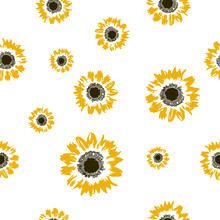 Seamless Pattern Yellow Sunflo...