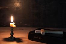 Wood Cross Laying On An Bible,...