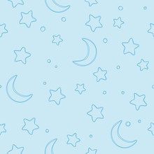 Soft Blue Seamless Stars And Moon Pattern.Background For Gift Wrapping Paper, Fabric, Clothes, Textile, Surface Textures, Scrapbook.