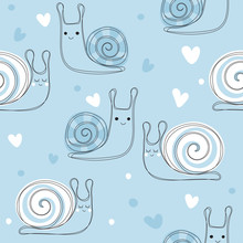 Cute Snails In Love Background...