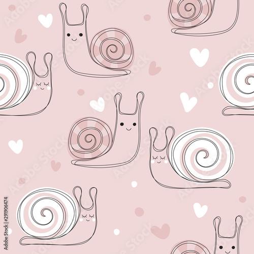 Obraz na plátně Pink seamless pattern with cute snail
