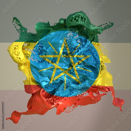Fotobehang Schilderkunstige Inspiratie Ethiopia flag liquid