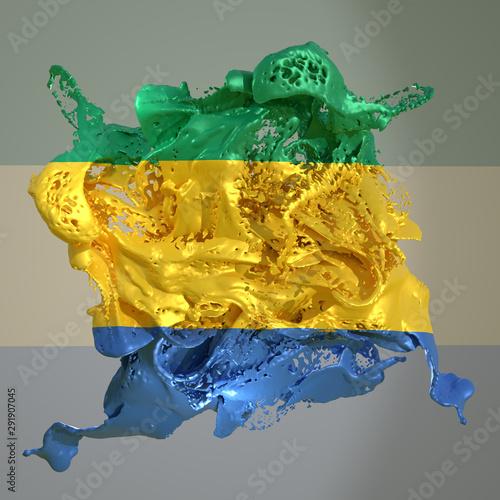 Fotobehang Schilderkunstige Inspiratie Gabon flag liquid