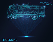 Hologram Fire Engine. Holographic Projection Fire Truck. Flickering Energy Flux Of Particles. Scientific Design Fire Protection.