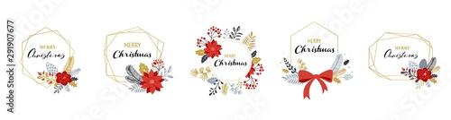 Photo  Merry Christmas logos, hand drawn elegant, delicate monograms isolated on white background
