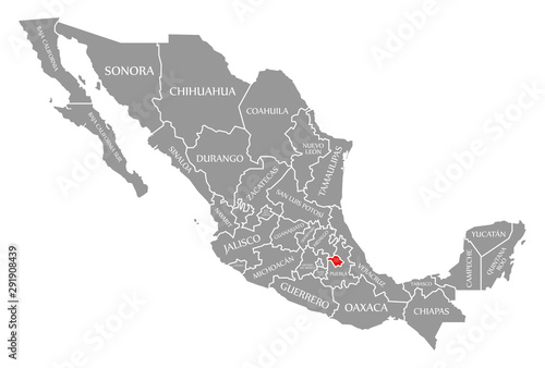 Fotografie, Tablou  Tlaxcala red highlighted in map of Mexico