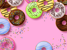Colorful Donuts With Icing On Pink Background. Top View With Copy Space, Realistic Style. Vector Illustration.
