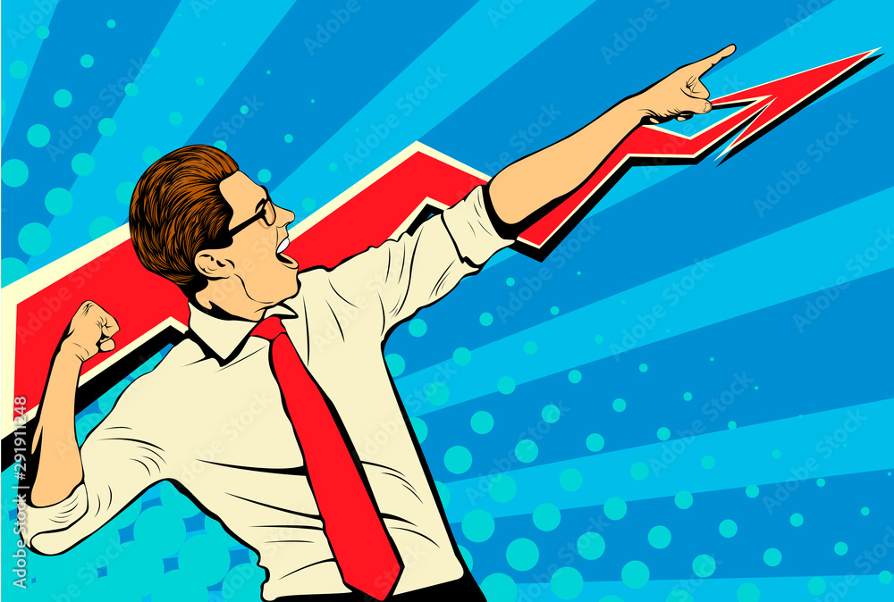 Fototapeta Business success businessman showing the top of the chart and screaming with joy. Retro style pop art. White adult male Caucasian
