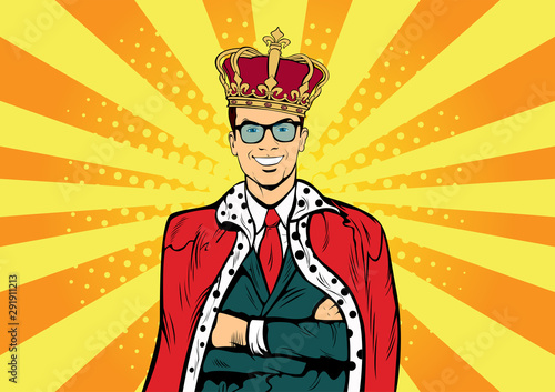 Business king. Businessman with crown. Man leader, success boss, human ego. Vector retro pop art comic drown illustration.