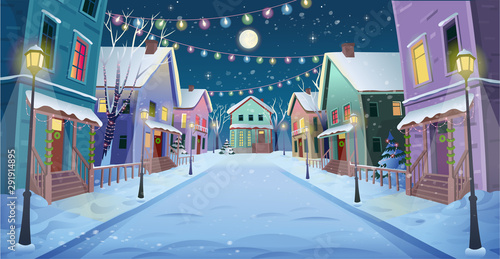 Fotobehang Cartoon cars Panorama road over the street with lanterns and a garland. Vector illustration of winter city street in cartoon style.