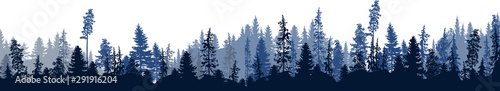 Autocollant pour porte Blanc dark blue fir forest stripe isolated on white