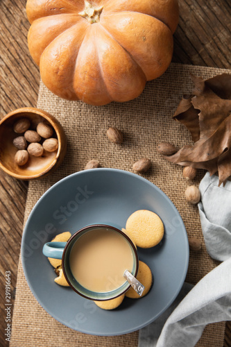 Autumn flat lay with soup and pumpkin