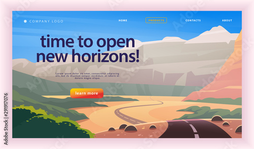 Fotografering Vector landing page design template with beautiful flat summer canyon mountains road trip landscape illustration