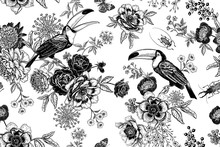 Roses, Peonies And Toucans. Floral Seamless Pattern.
