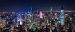aerial view of manhattan new york at night - image