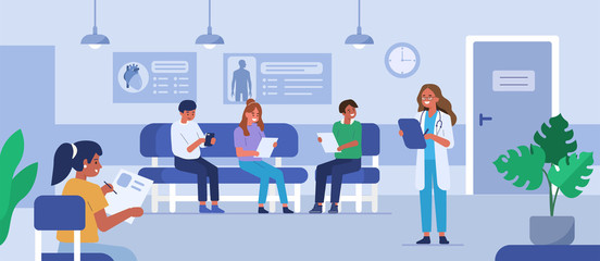 People characters sitting on chairs and waiting appointment time in medical hospital. Doctor inviting next patient in cabinet. Man and woman in queue at the clinic. Flat cartoon vector illustration.