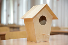 Wooden Birdhouse . Little Bird...