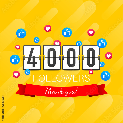 4000 followers, Thank You, social sites post Tablou Canvas