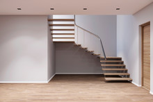 3d Illustration. An Empty Entrance Hall With Stairs, Doors, Mock Up Wall