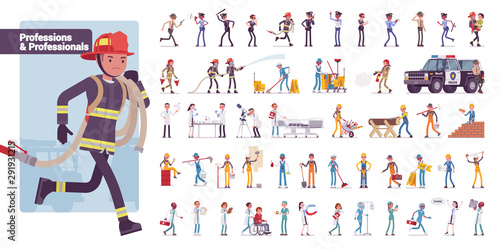 Professionals, professions big bundle character set. Jobs, occupation, career opportunities for people, regular employment and work. Vector flat style cartoon illustration isolated on white background