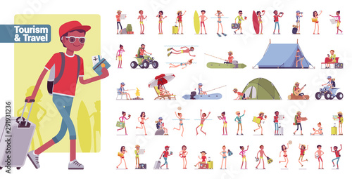 Valokuva Tourism and travelling big bundle character set
