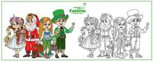 Children In Carnival Costumes ...